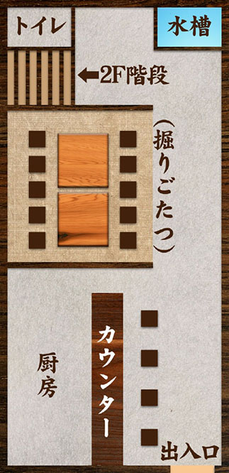 海鮮・魚料理専門店「魚小屋よしき」の店内見取図:1F宴会時